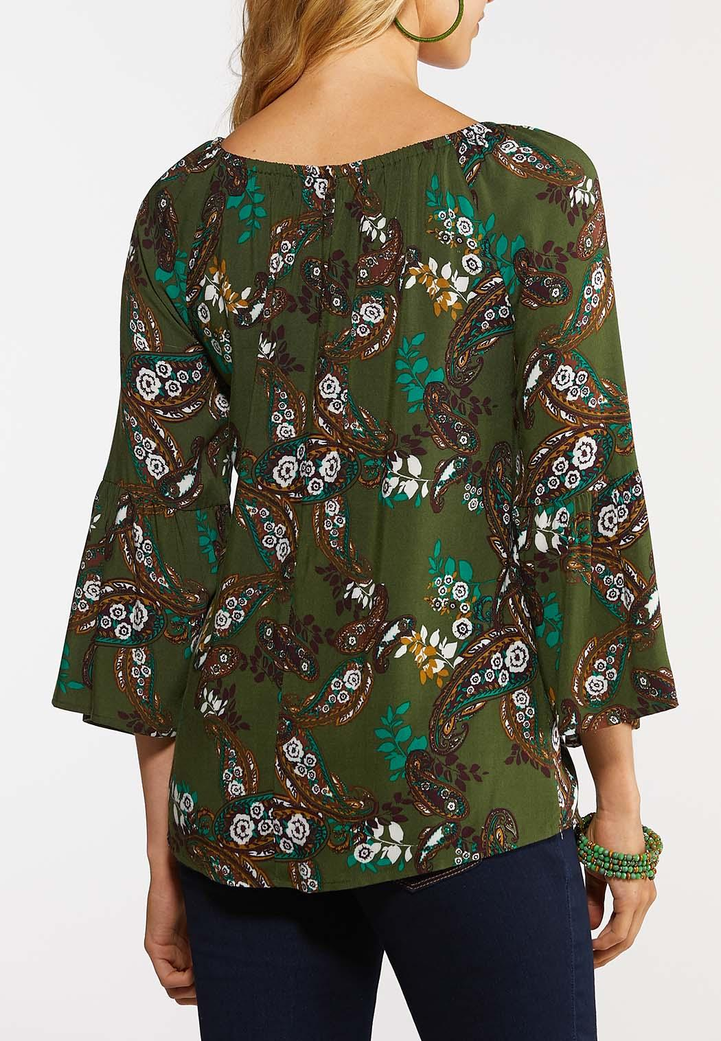 Olive Floral Paisley Top (Item #43988312)