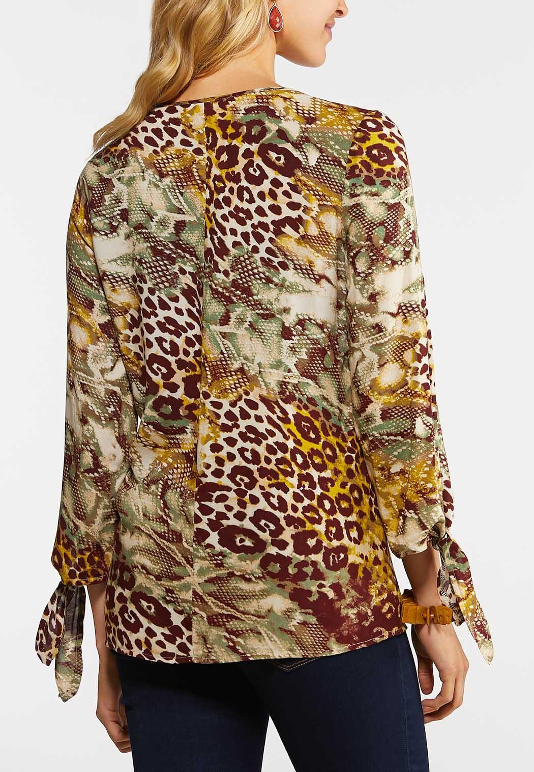 Plus Size In The Jungle Tie Sleeve Top (Item #43988532)