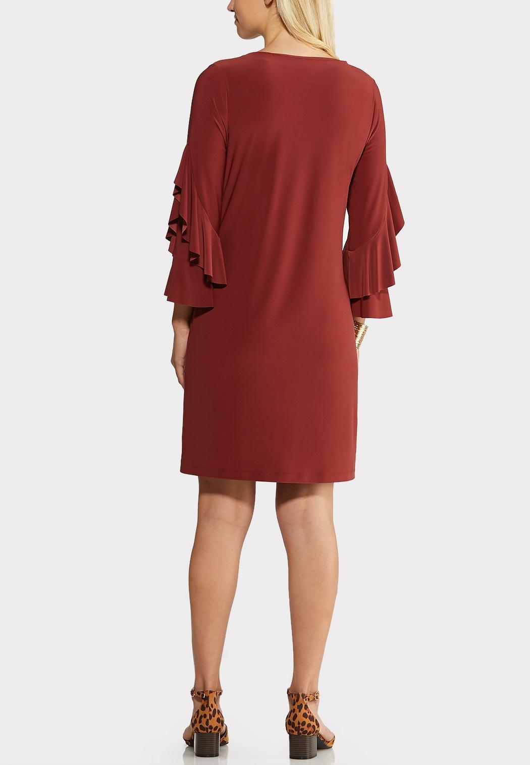 Plus Size Flounce Sleeve Sheath Dress (Item #43989517)