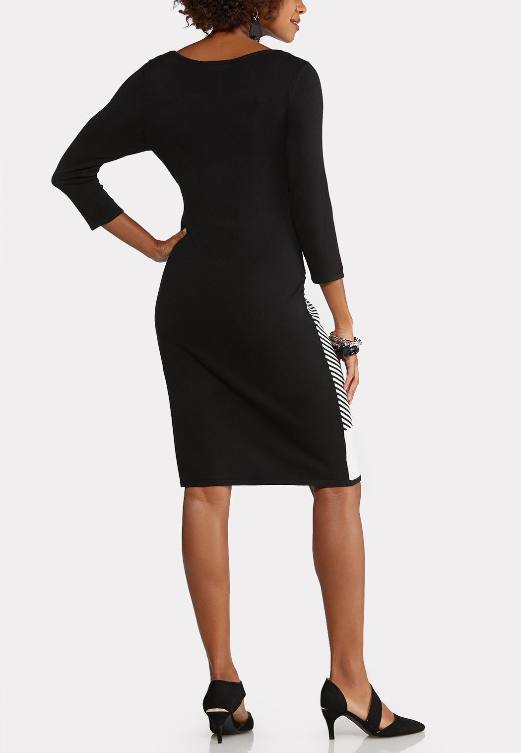 Plus Size Black and White Sweater Dress (Item #43989846)