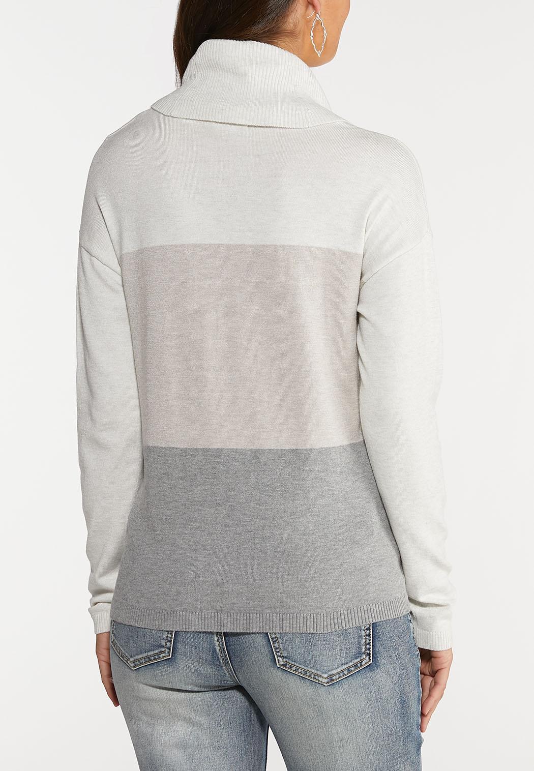 Plus Size Colorblock Cowl Neck Sweater (Item #43990904)