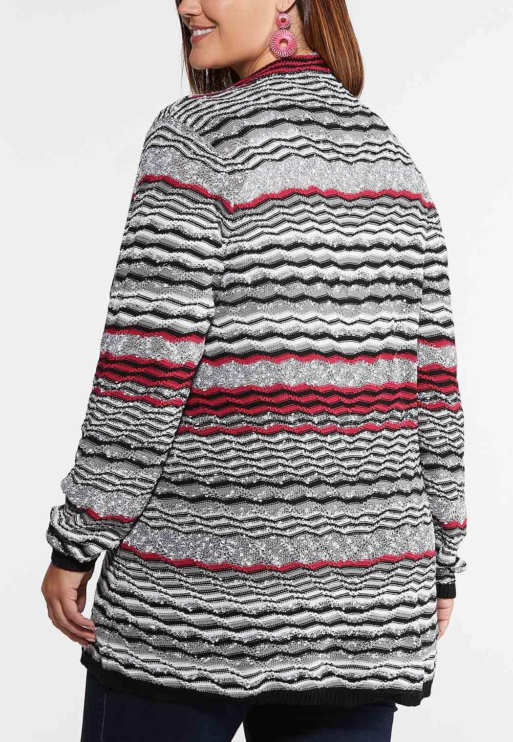 Plus Size Raspberry Wave Cardigan Sweater (Item #43991305)