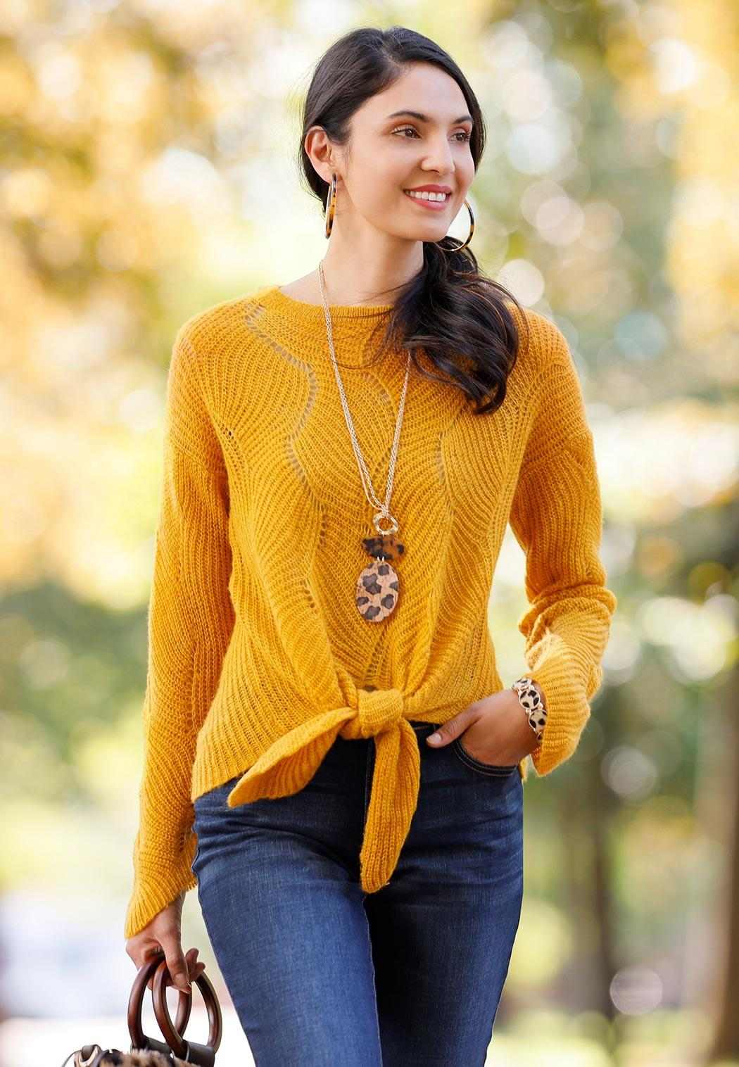 Gold Tie Front Sweater (Item #43991492)