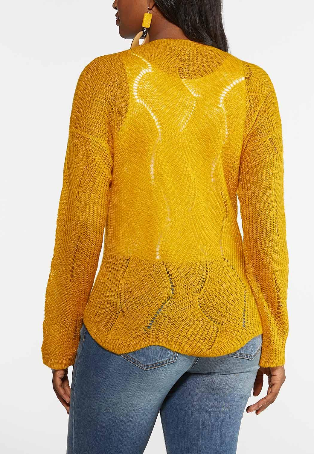 Plus Size Gold Tie Front Sweater (Item #43991539)