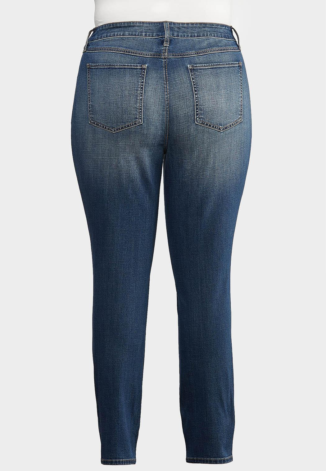Plus Size Curvy Washed Skinny Jeans (Item #43992332)