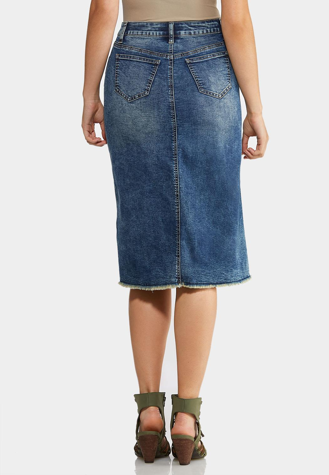 Plus Size Denim Distress Midi Skirt (Item #43992363)
