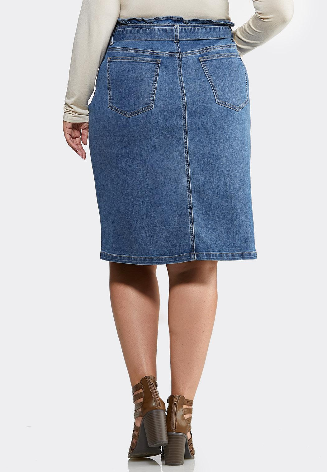 Plus Size Paperbag Denim Skirt (Item #43992418)