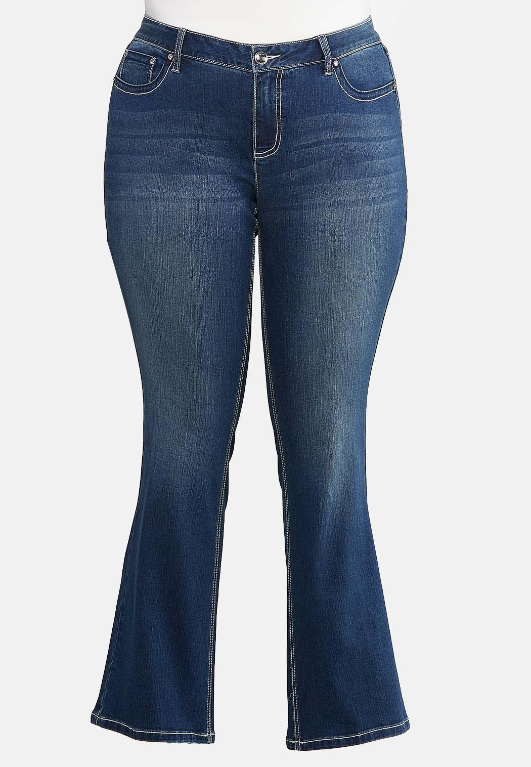 Plus Size Bling Cross Pocket Jeans (Item #43992652)