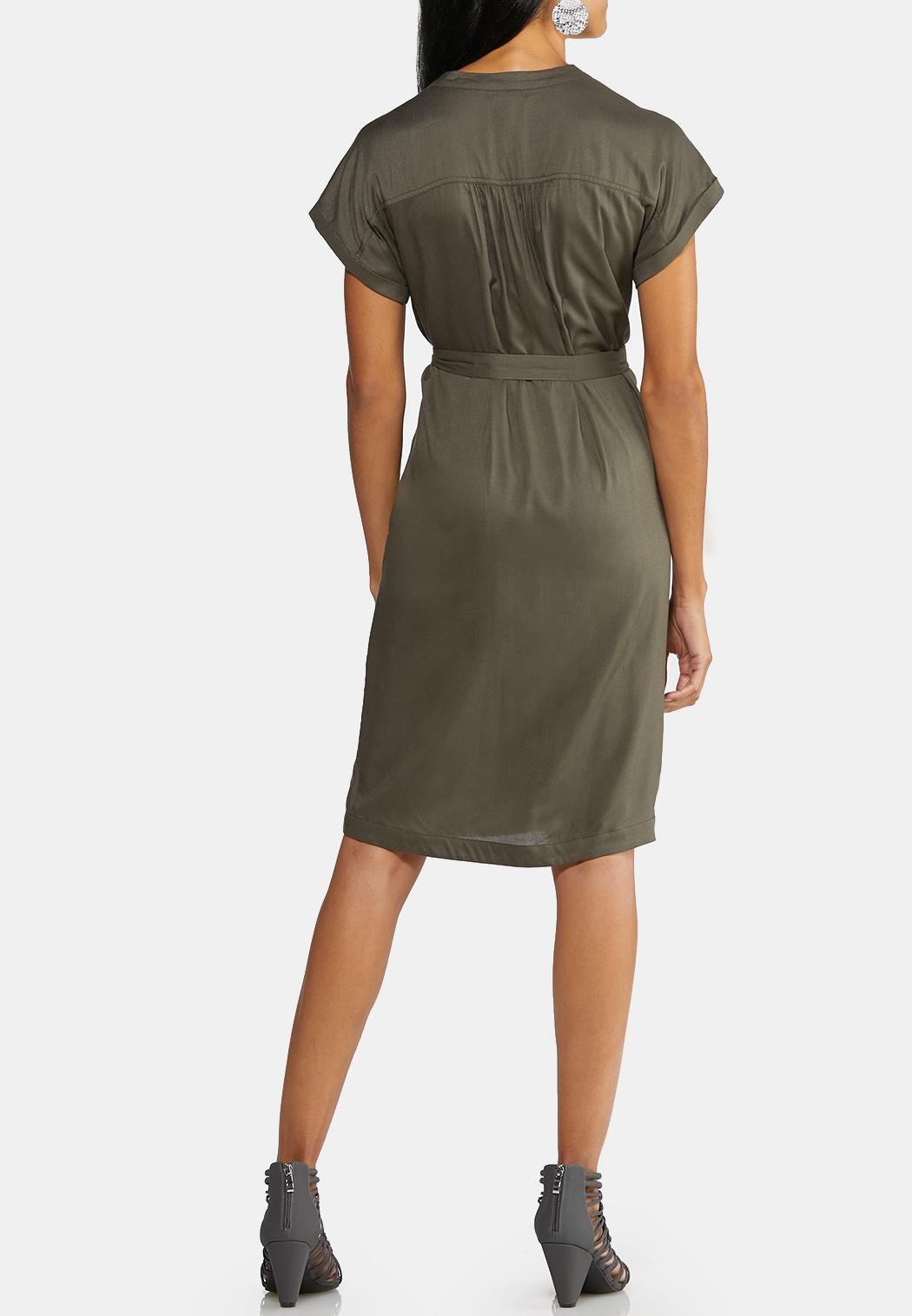 Plus Size Tie Waist Utility Dress (Item #43992931)