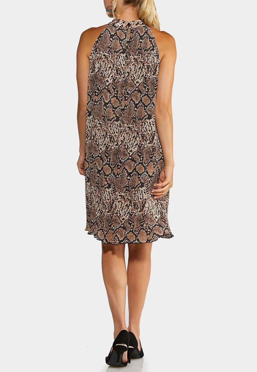 Plus Size Pleated Snakeskin Dress (Item #43993012)