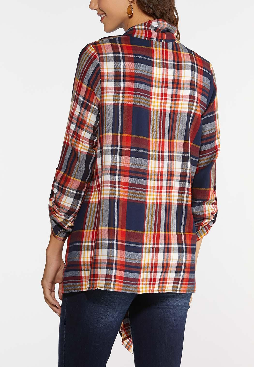 Plus Size Plaid Drape Jacket (Item #43993034)