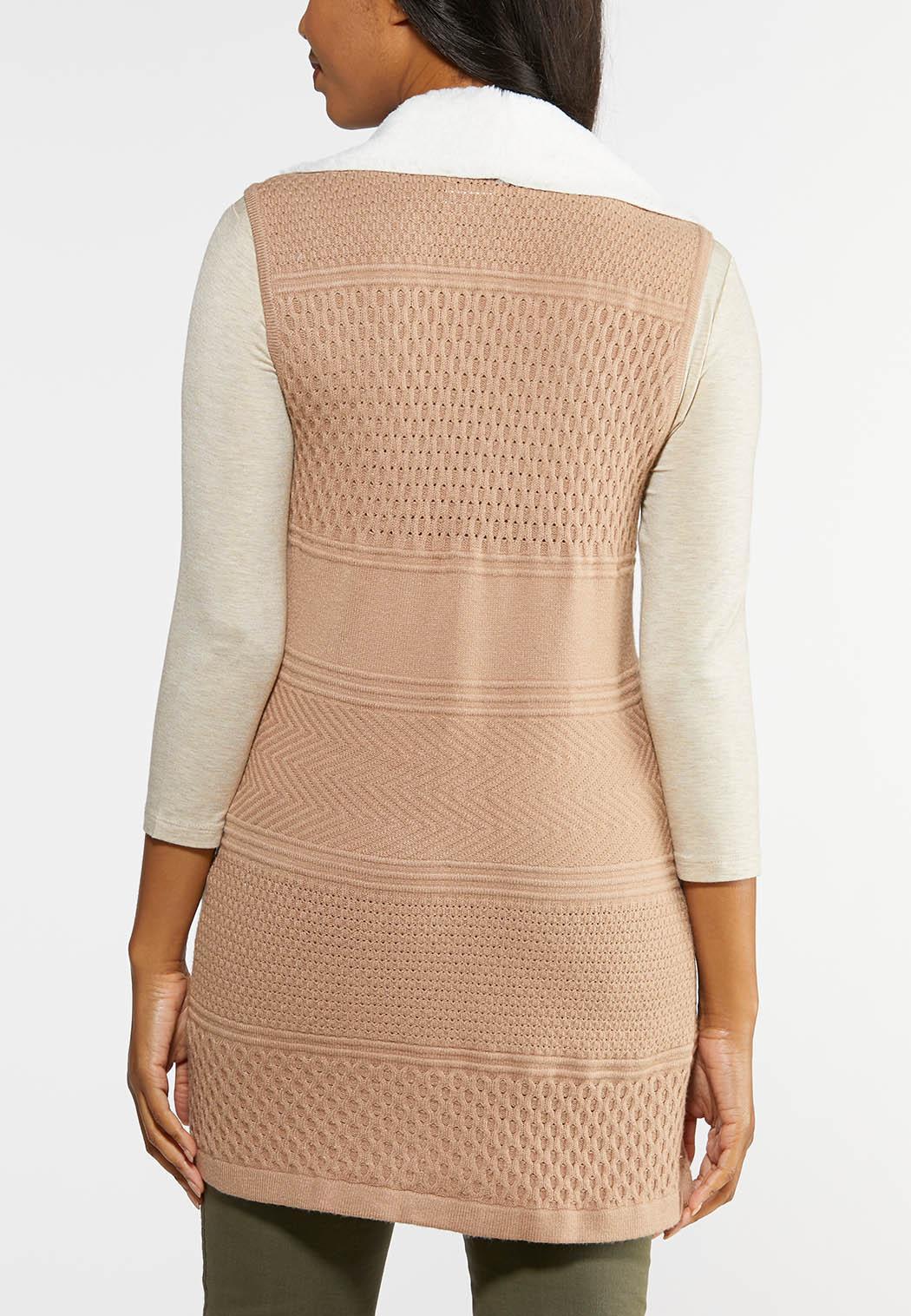 Plus Size Faux Fur Lined Sweater Vest (Item #43993269)