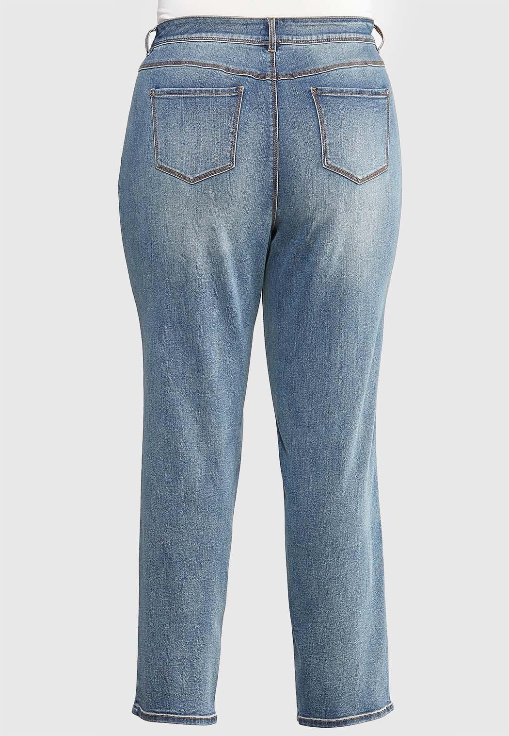 Plus Size Medium Wash Straight Leg Jeans (Item #43993775)