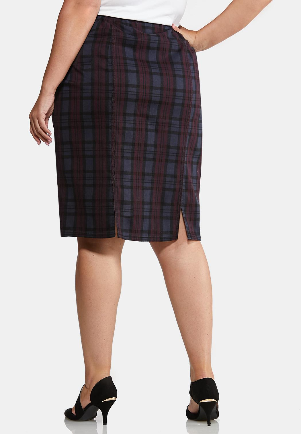 Plus Size Purple Plaid Pencil Skirt (Item #43993882)
