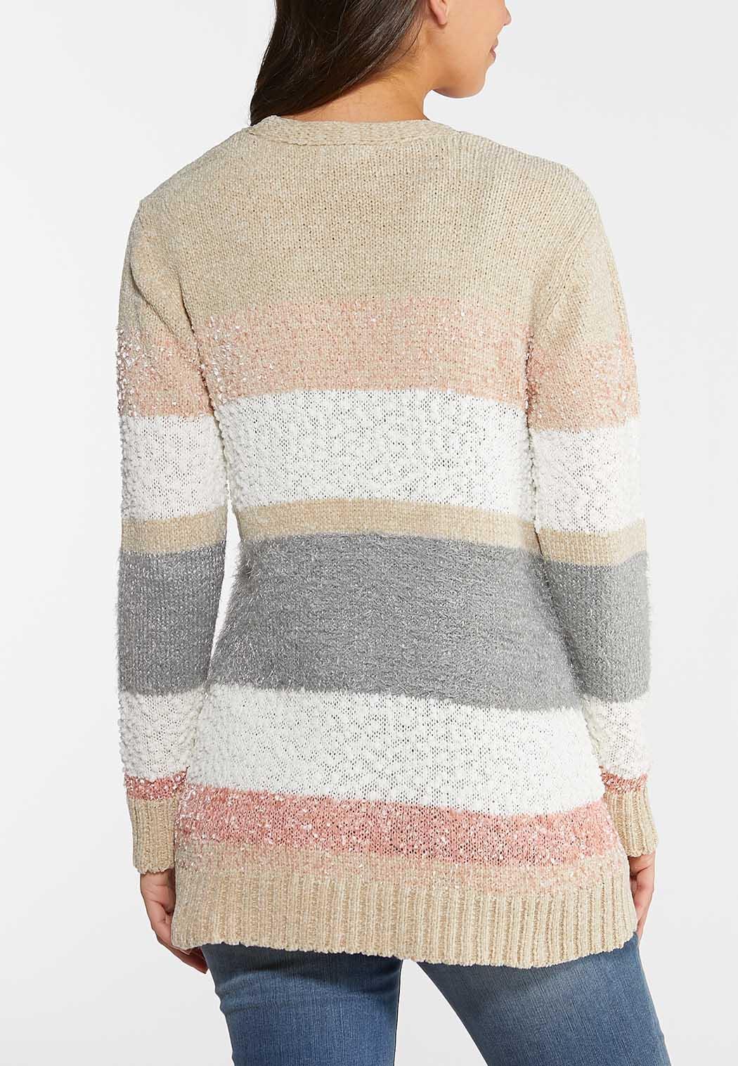 Plus Size Colorblock Chenille Cardigan (Item #43994144)