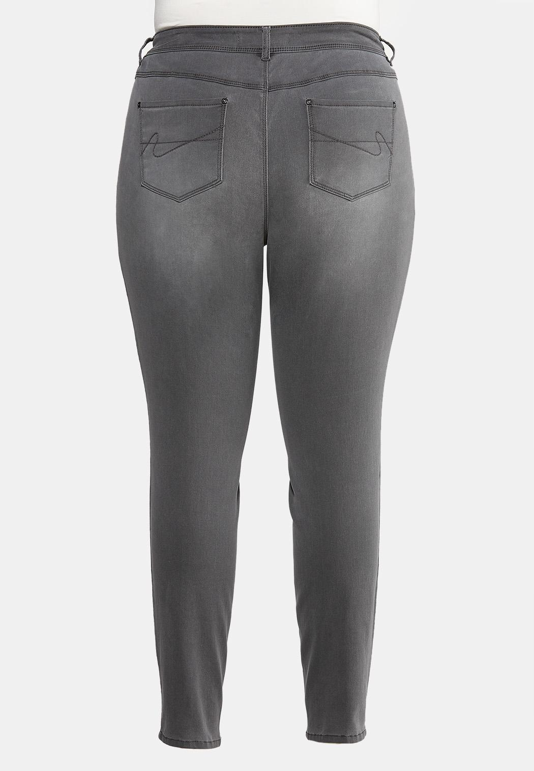 Plus Size Gray Wash Jeggings (Item #43994261)