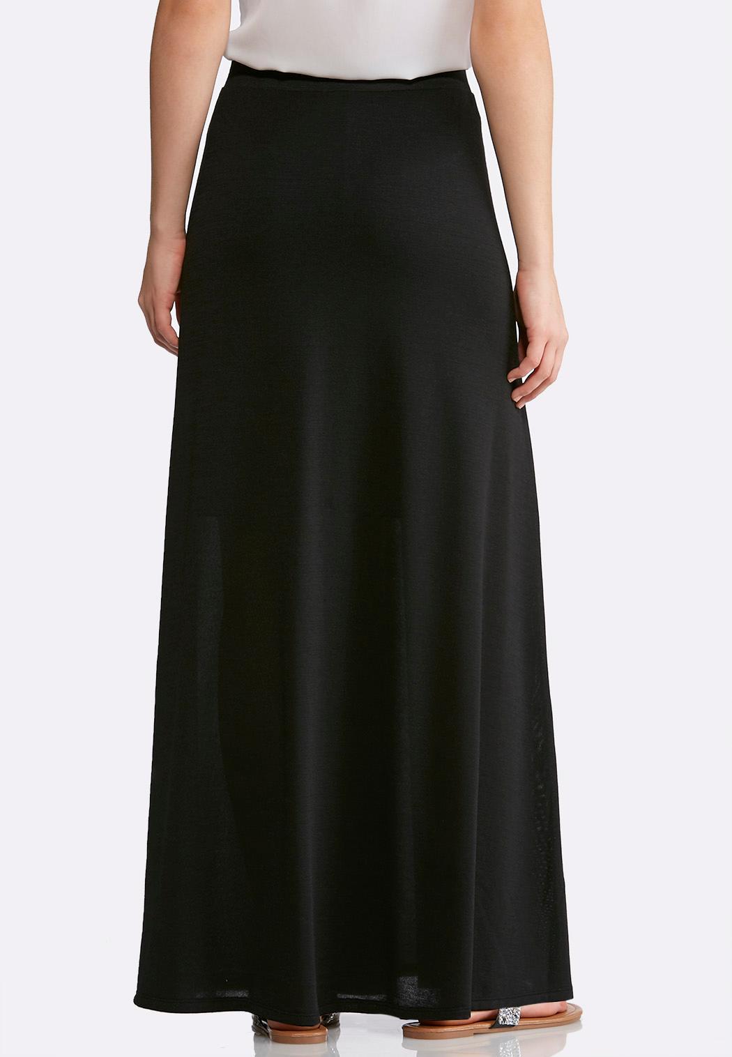 Plus Size Black Hacci Maxi Skirt (Item #43994403)