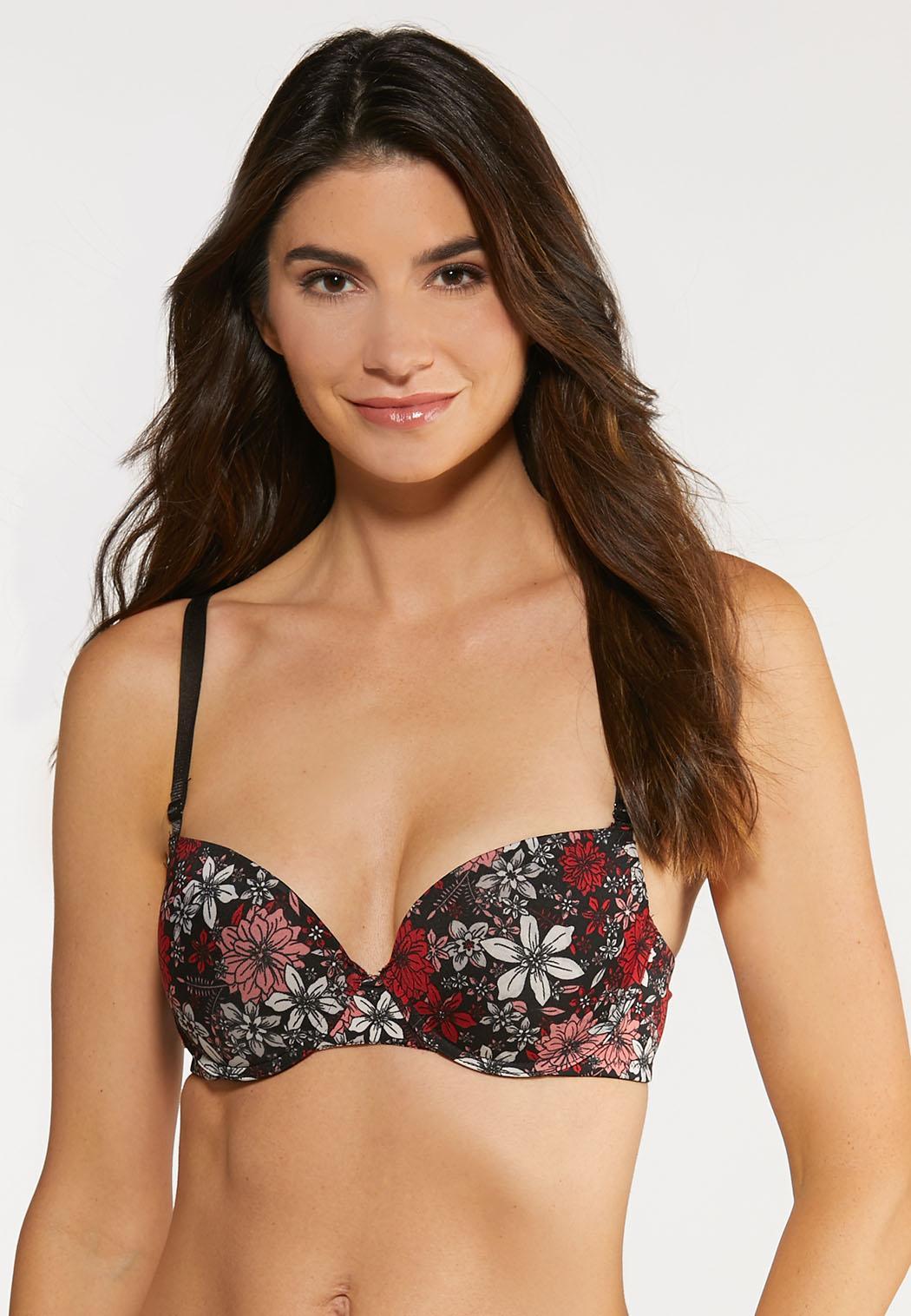 Plus Size Red Floral Bra Set (Item #43995674)