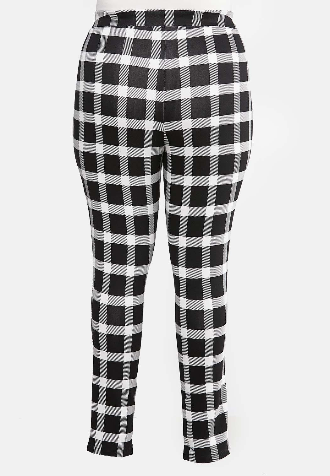 Plus Size Black White Plaid Leggings (Item #43995688)