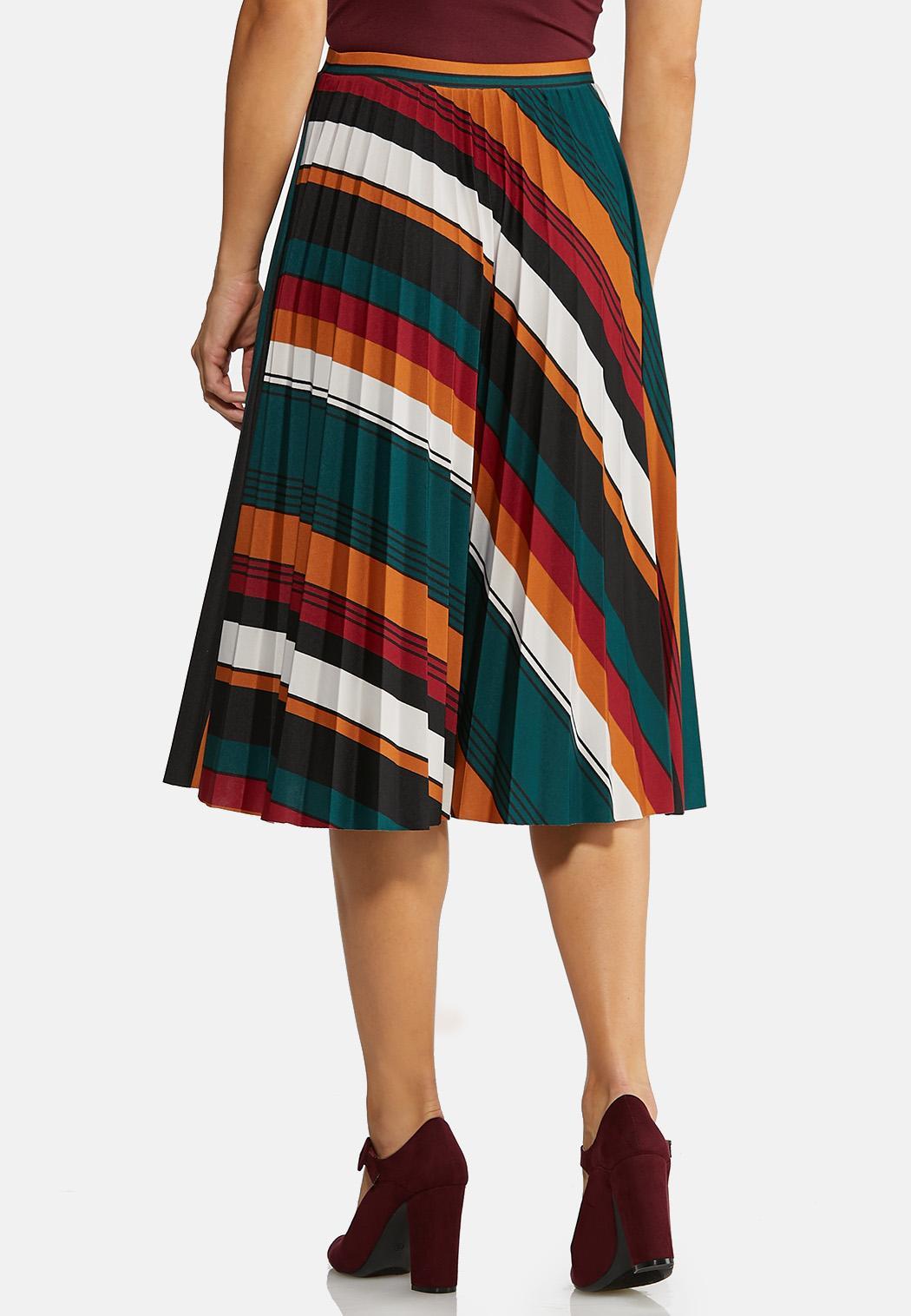 Pleated Stripe Midi Skirt (Item #43995950)