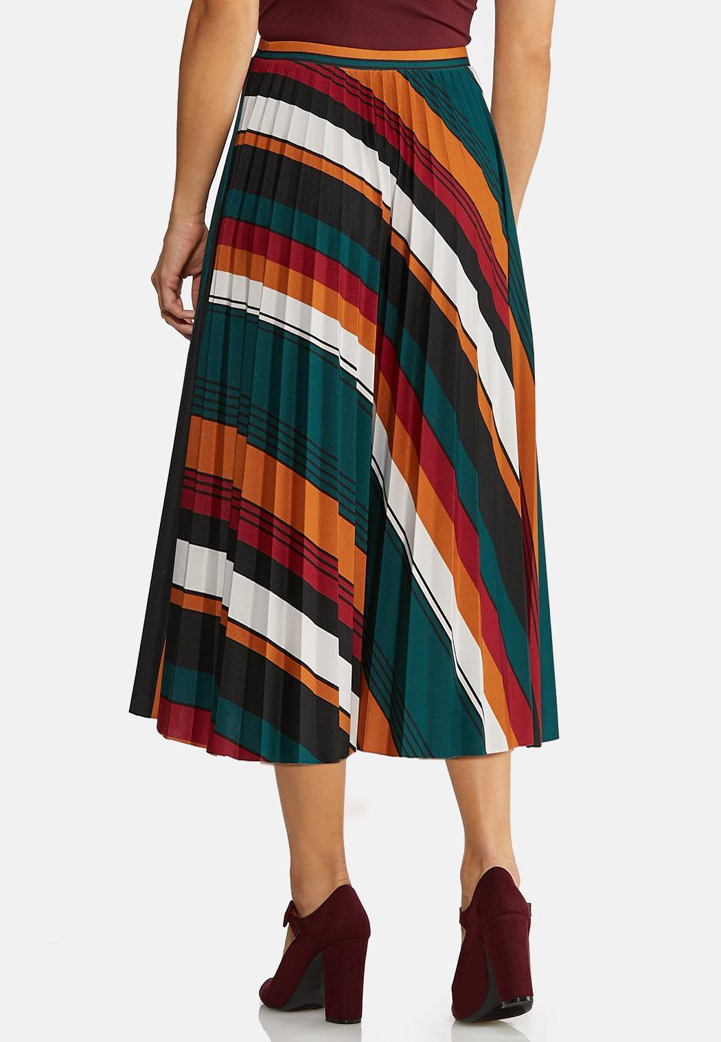Plus Size Pleated Stripe Midi Skirt (Item #43995961)