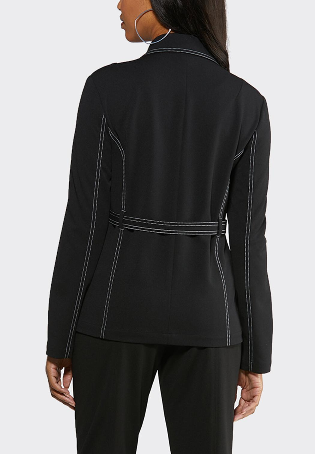Contrast Stitch Belted Blazer (Item #43996081)
