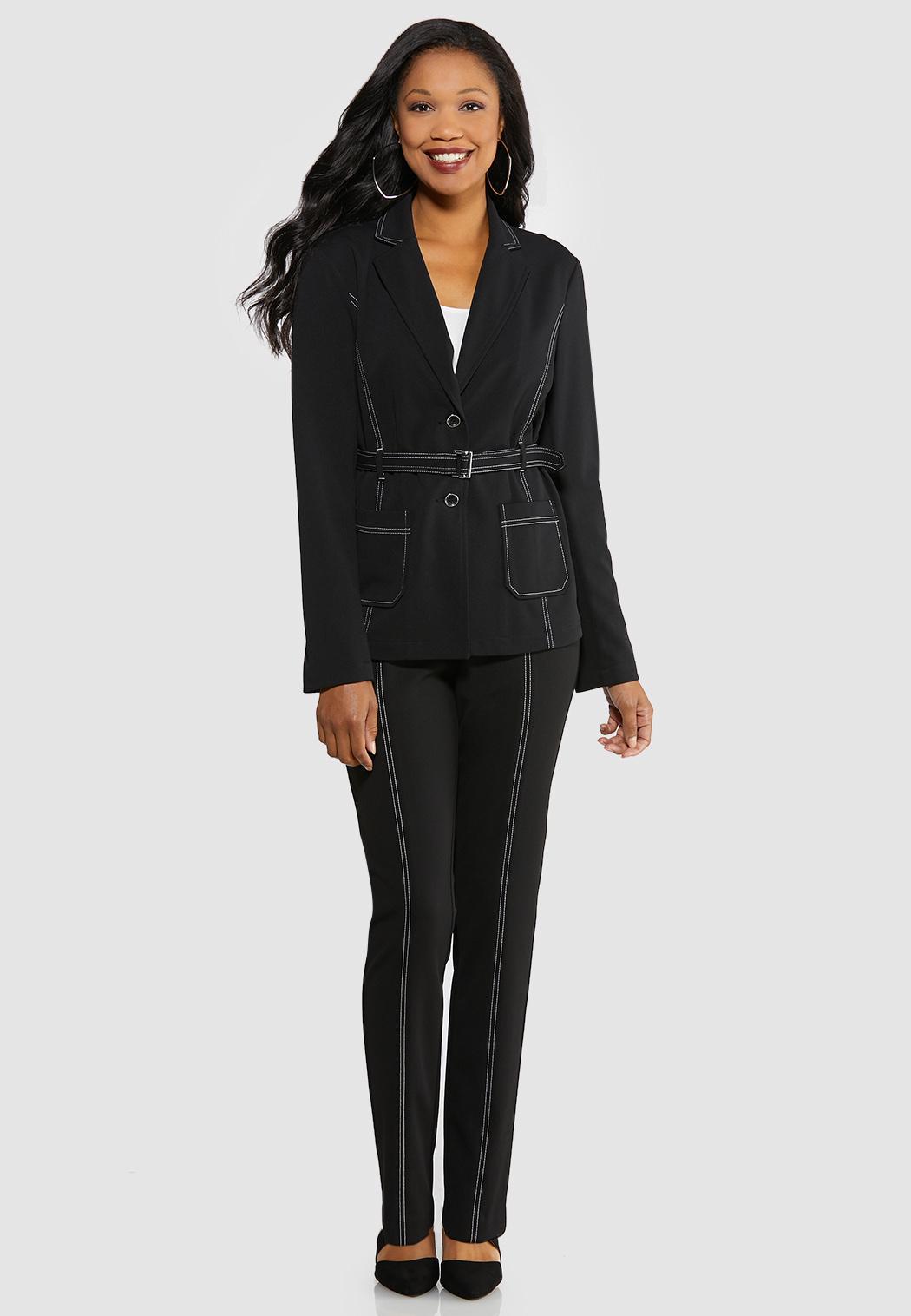 Plus Size Contrast Stitch Belted Blazer (Item #43996092)