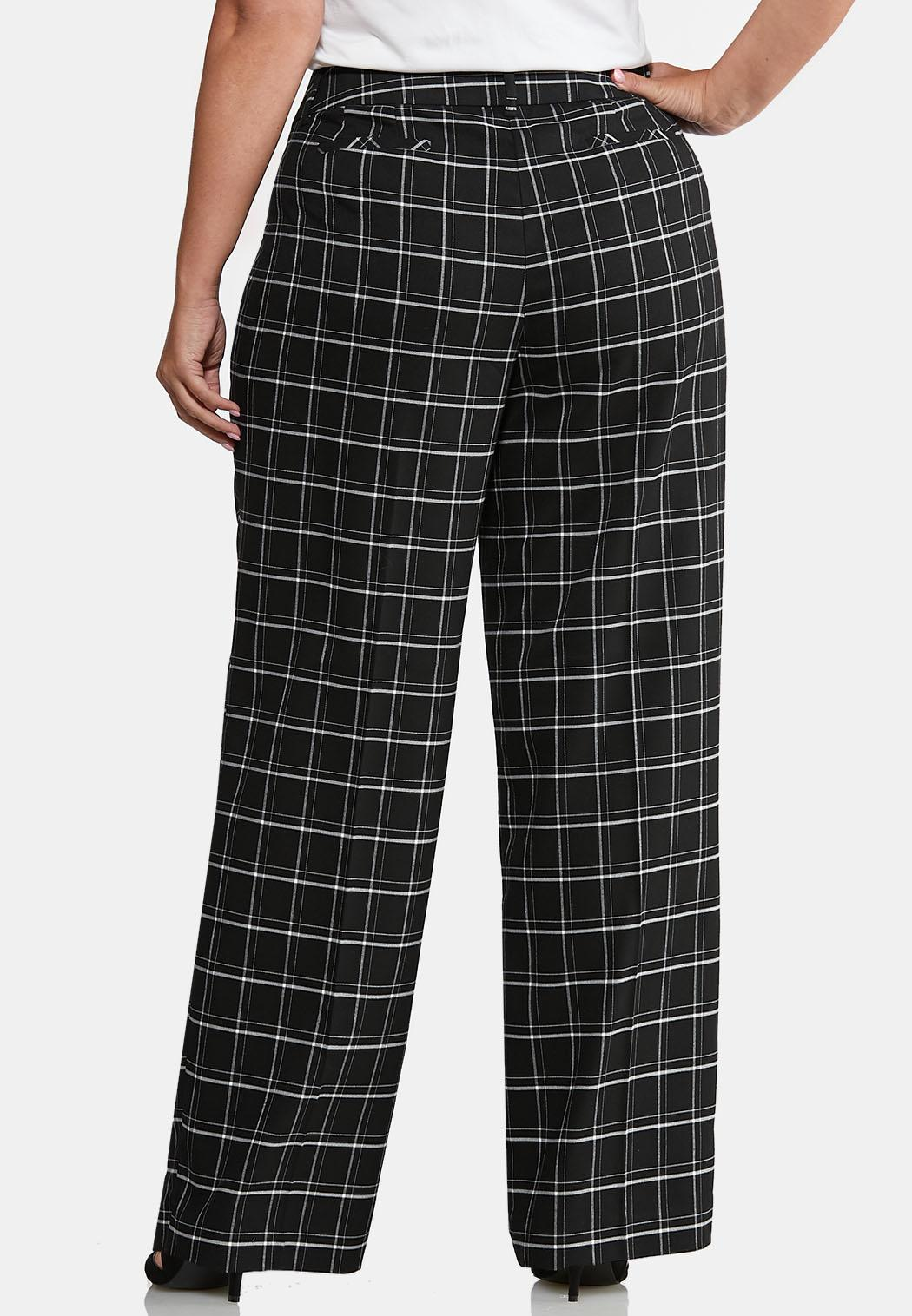 Plus Size Curvy Plaid Trouser Pants (Item #43996452)