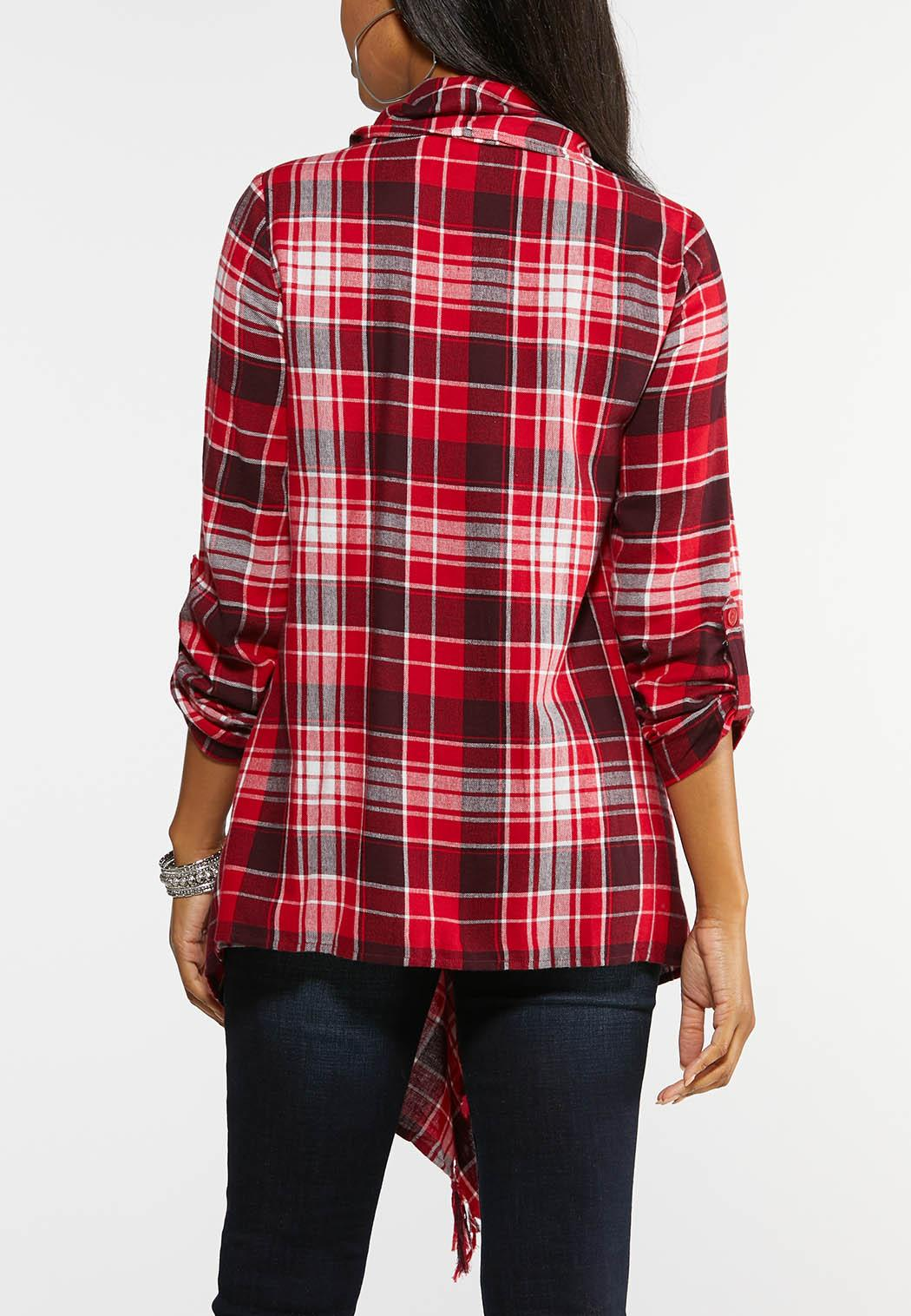 Plus Size Red Plaid Fringe Jacket (Item #43996932)