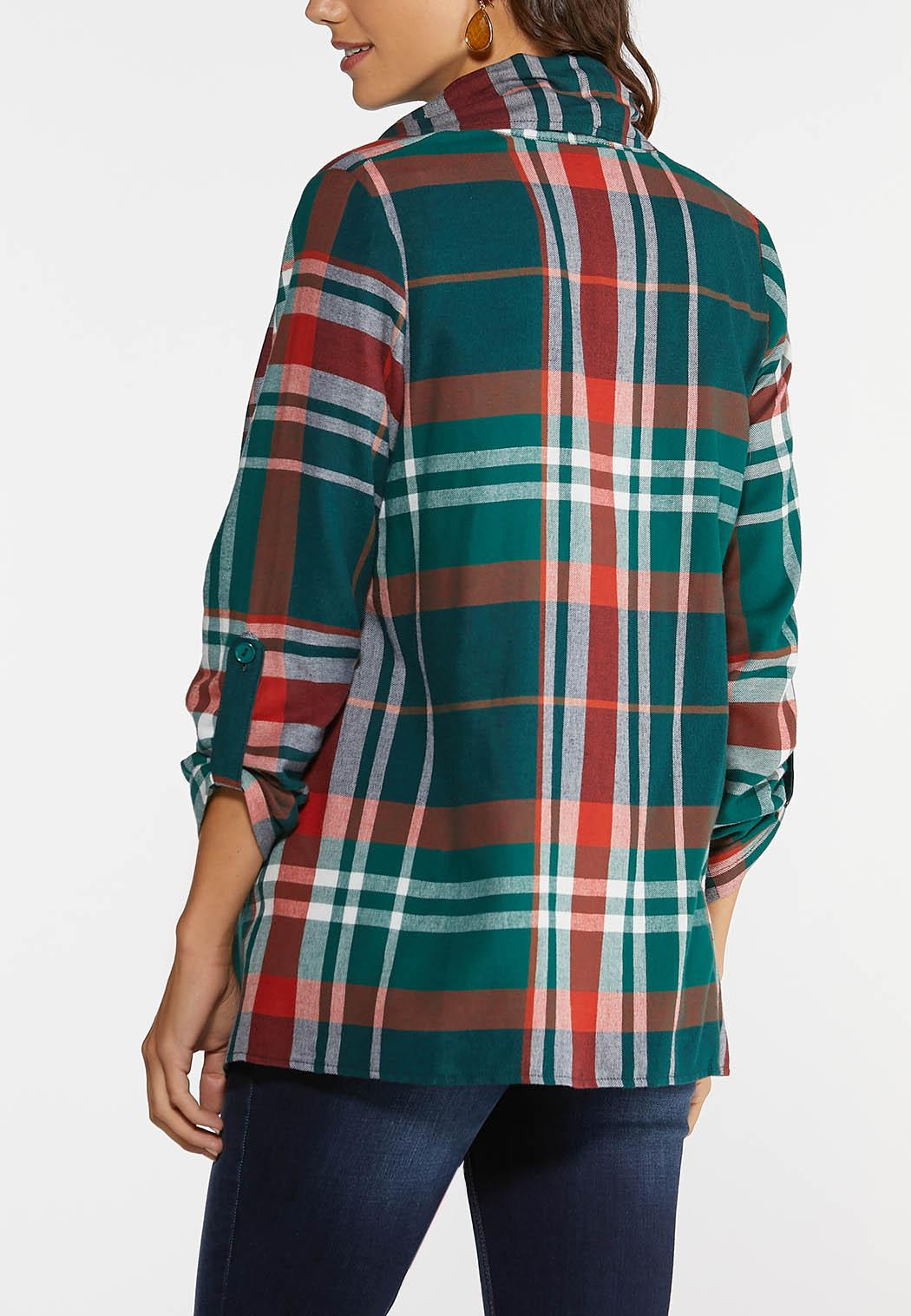 Plus Size Autumn Green Plaid Jacket (Item #43997144)