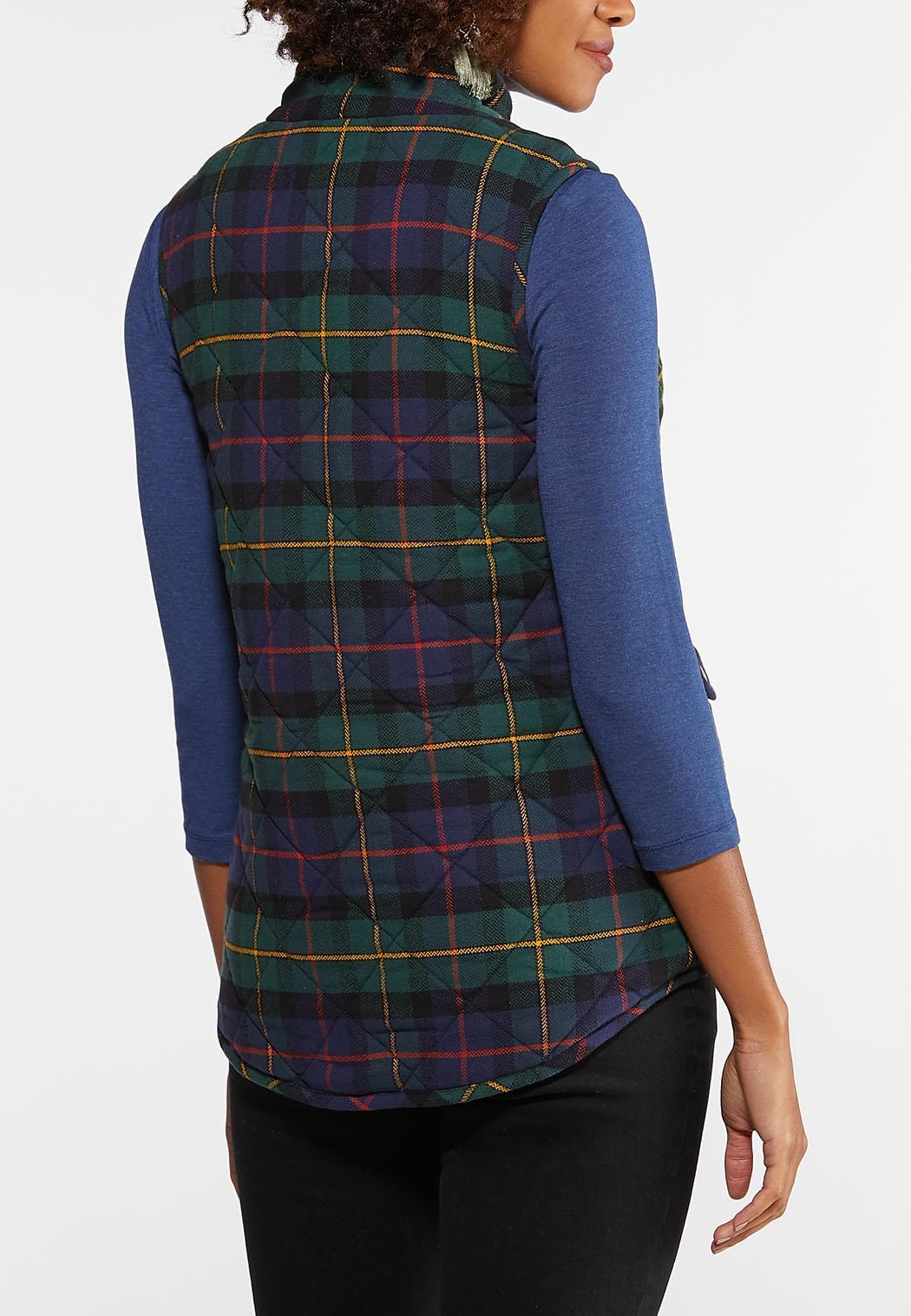 Plus Size Plaid Puffer Vest (Item #43997606)