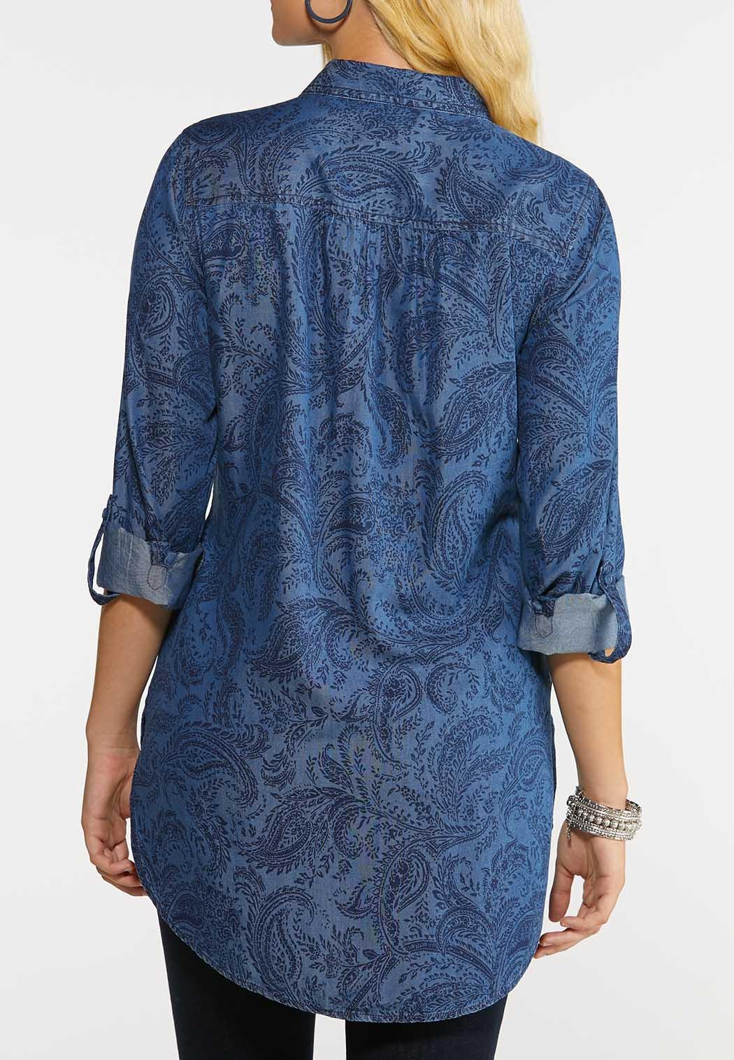 Plus Size Paisley Chambray Top (Item #43999244)