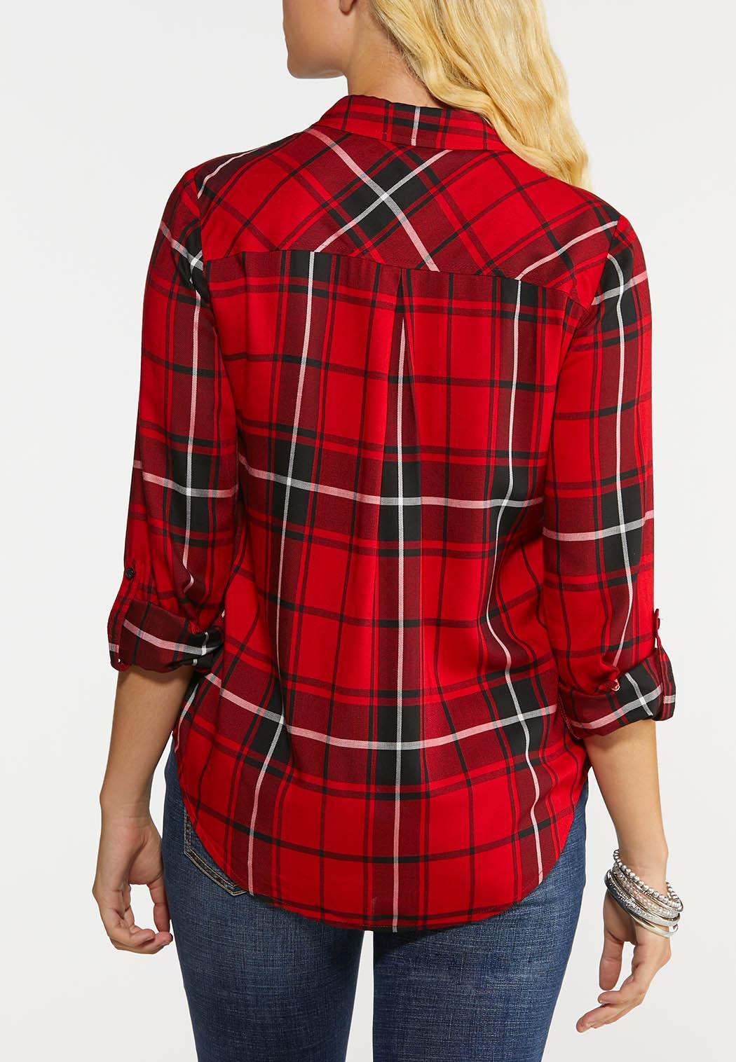 Plus Size Plaid High Low Top (Item #43999317)