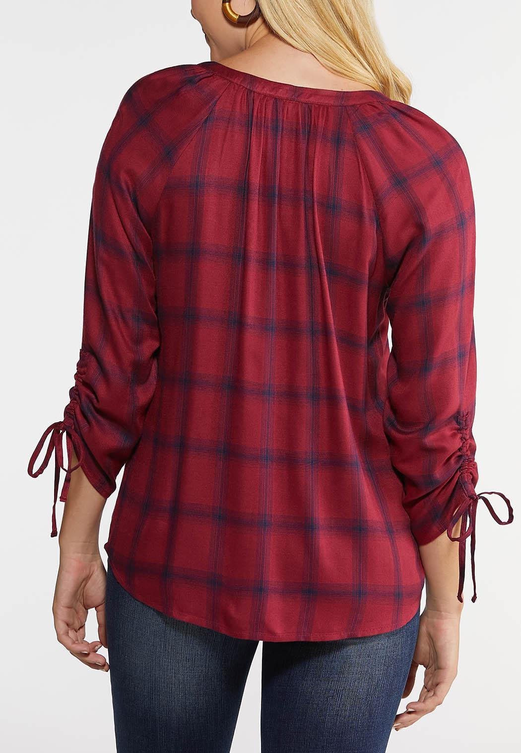 Plus Size Plaid Scrunch Sleeve Top (Item #43999344)