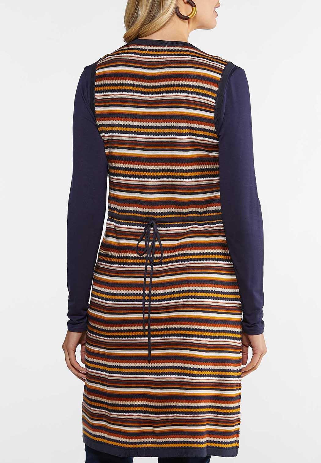 Plus Size Navy Stripe Vest (Item #43999779)