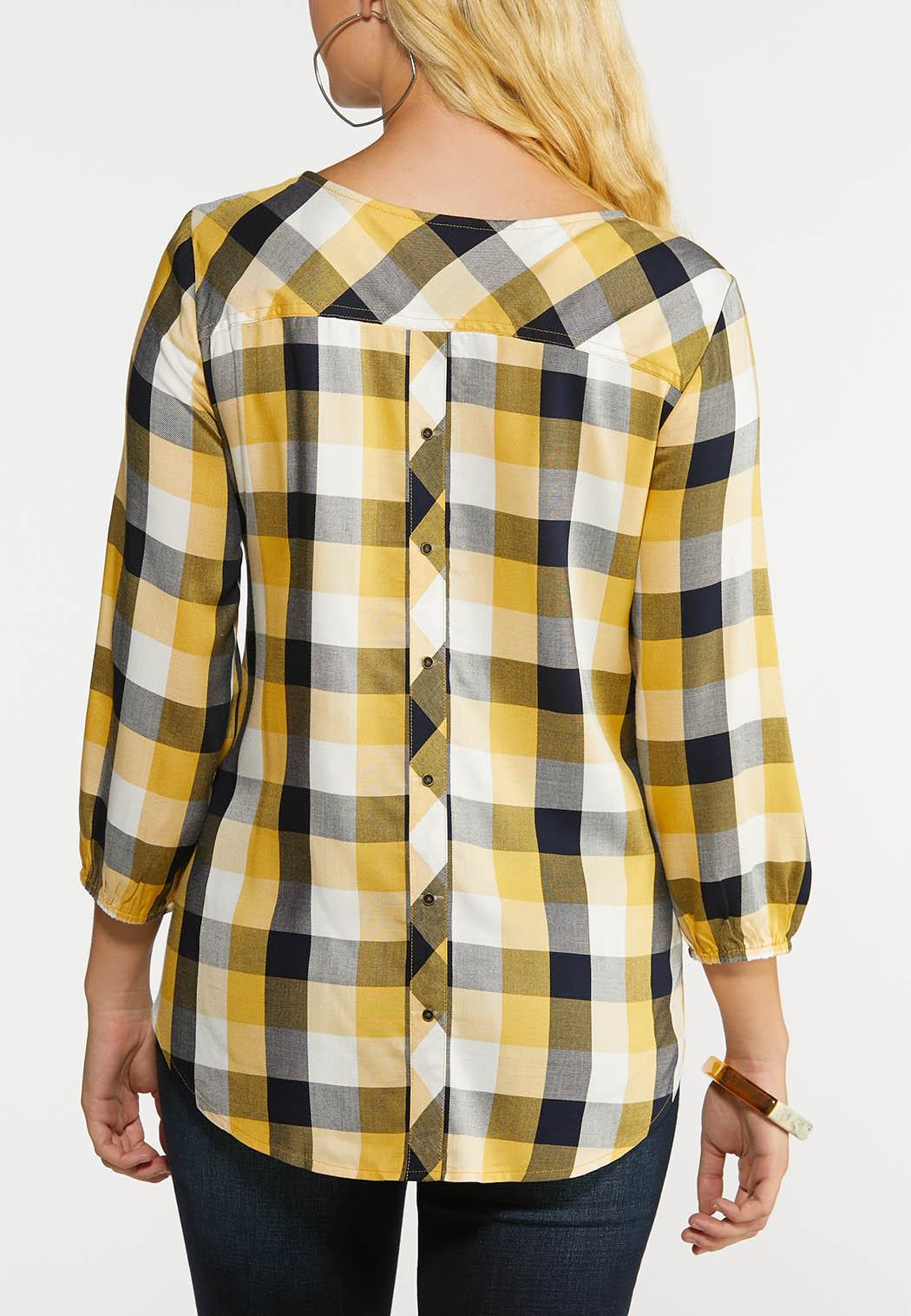 Plus Size Gold And Black Plaid Shirt (Item #43999780)