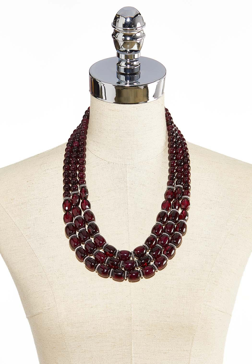 Layered Wine Bead Necklace (Item #43999887)