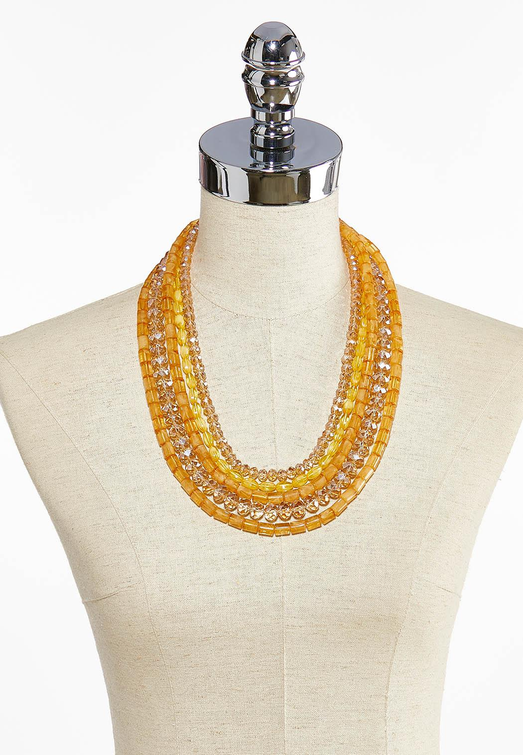 Layered Gold Bead Necklace (Item #43999889)