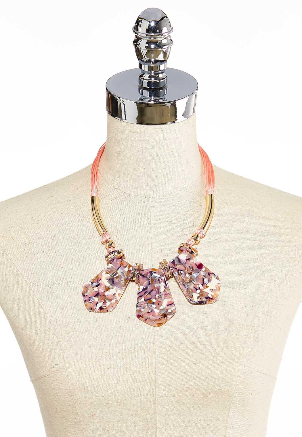 Marbled Lucite Cord Necklace (Item #44000011)