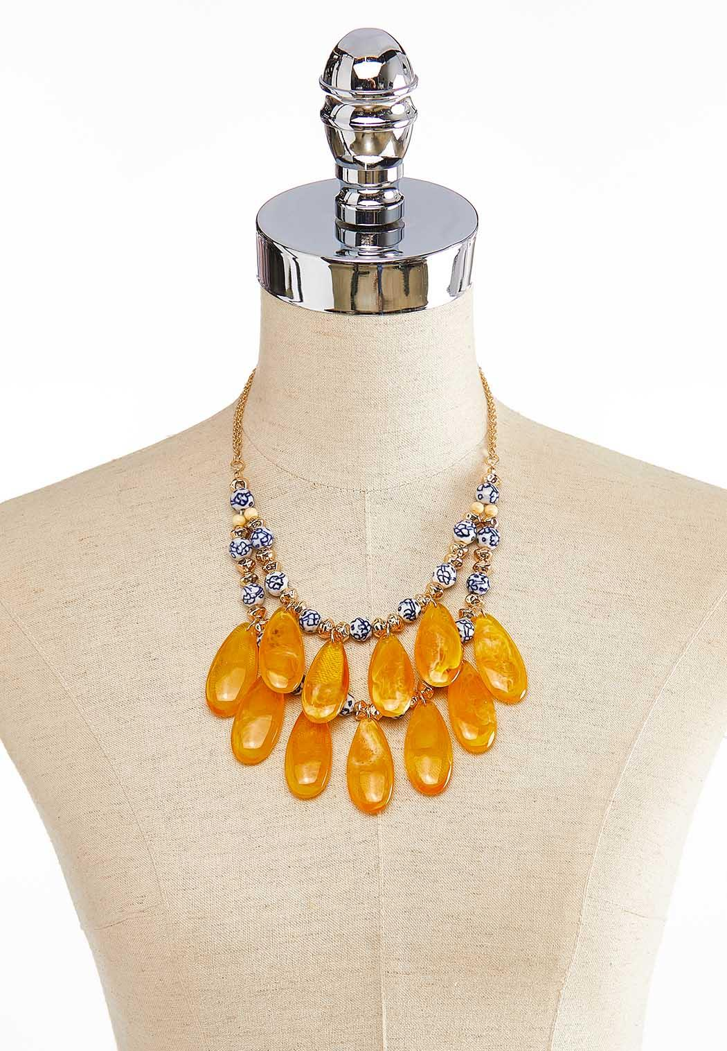 Golden Glass Bead Layered Necklace (Item #44000100)