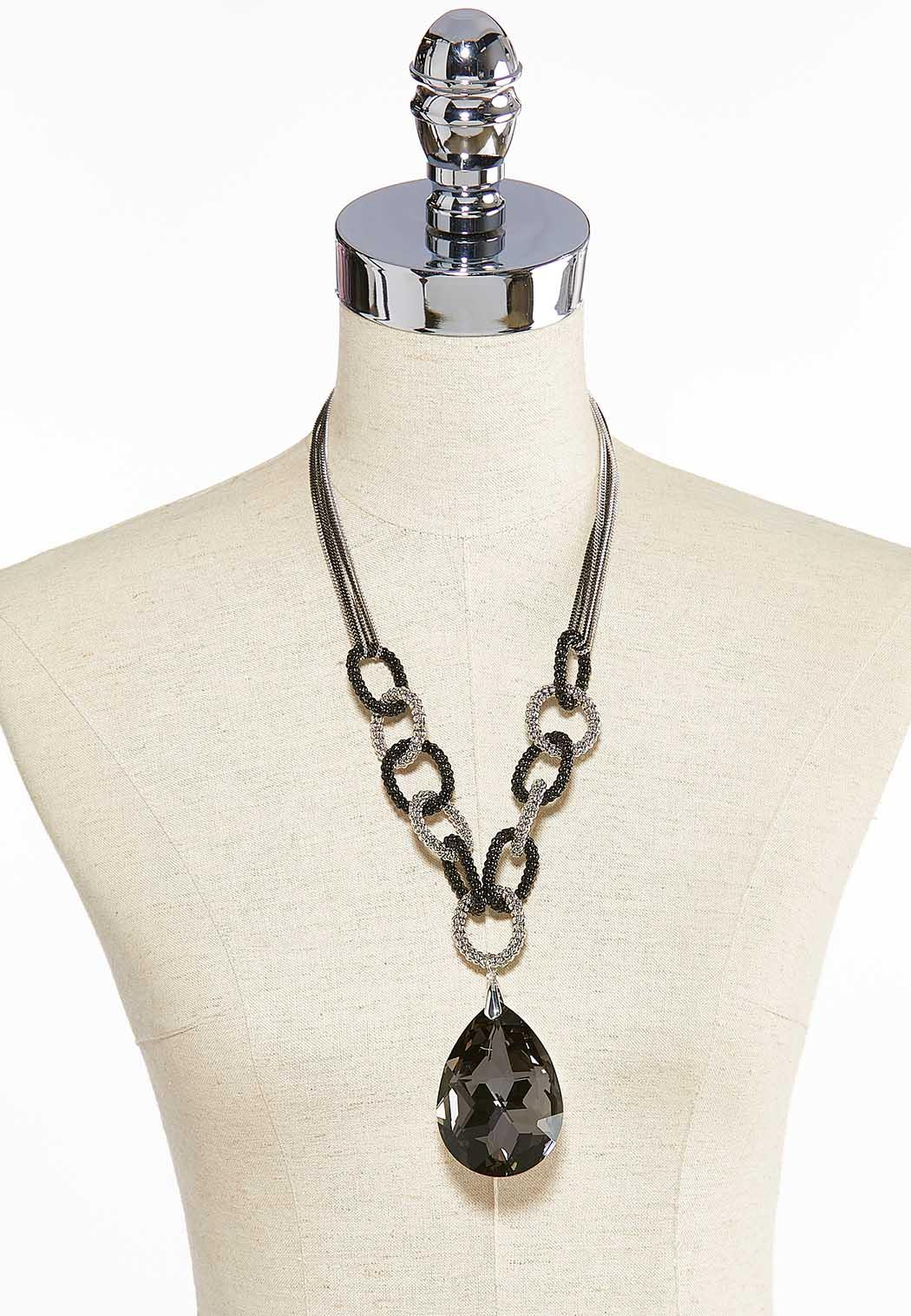 Faceted Glass Pendant Necklace (Item #44000128)