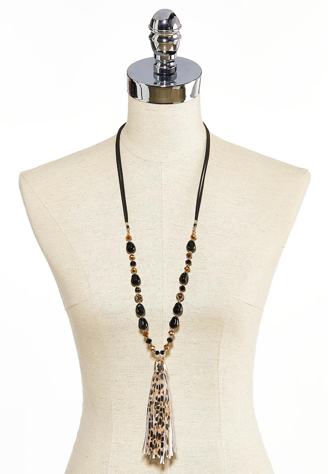 Beaded Leopard Tassel Necklace (Item #44000133)