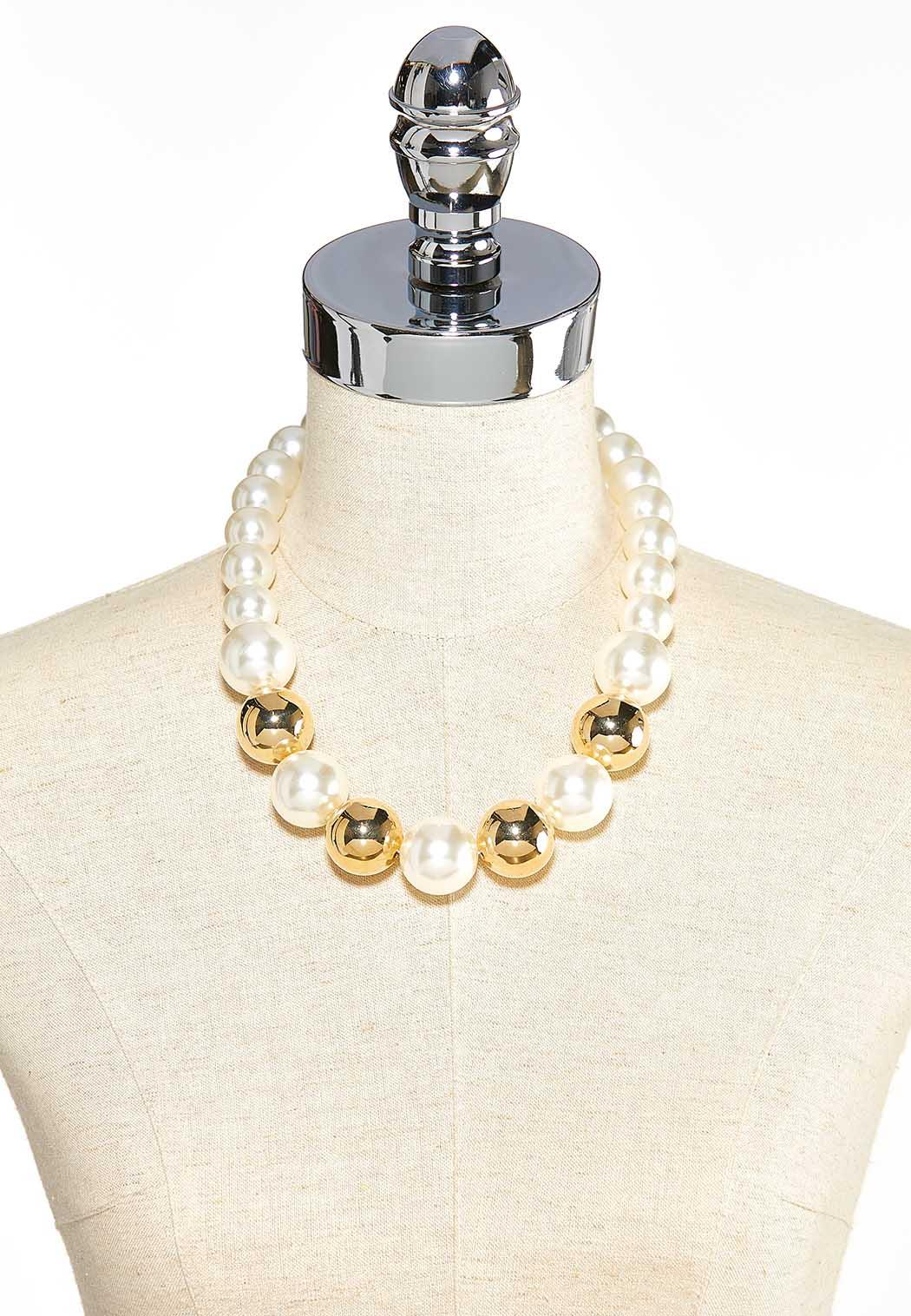 Gold Bead And Pearl Necklace (Item #44000223)