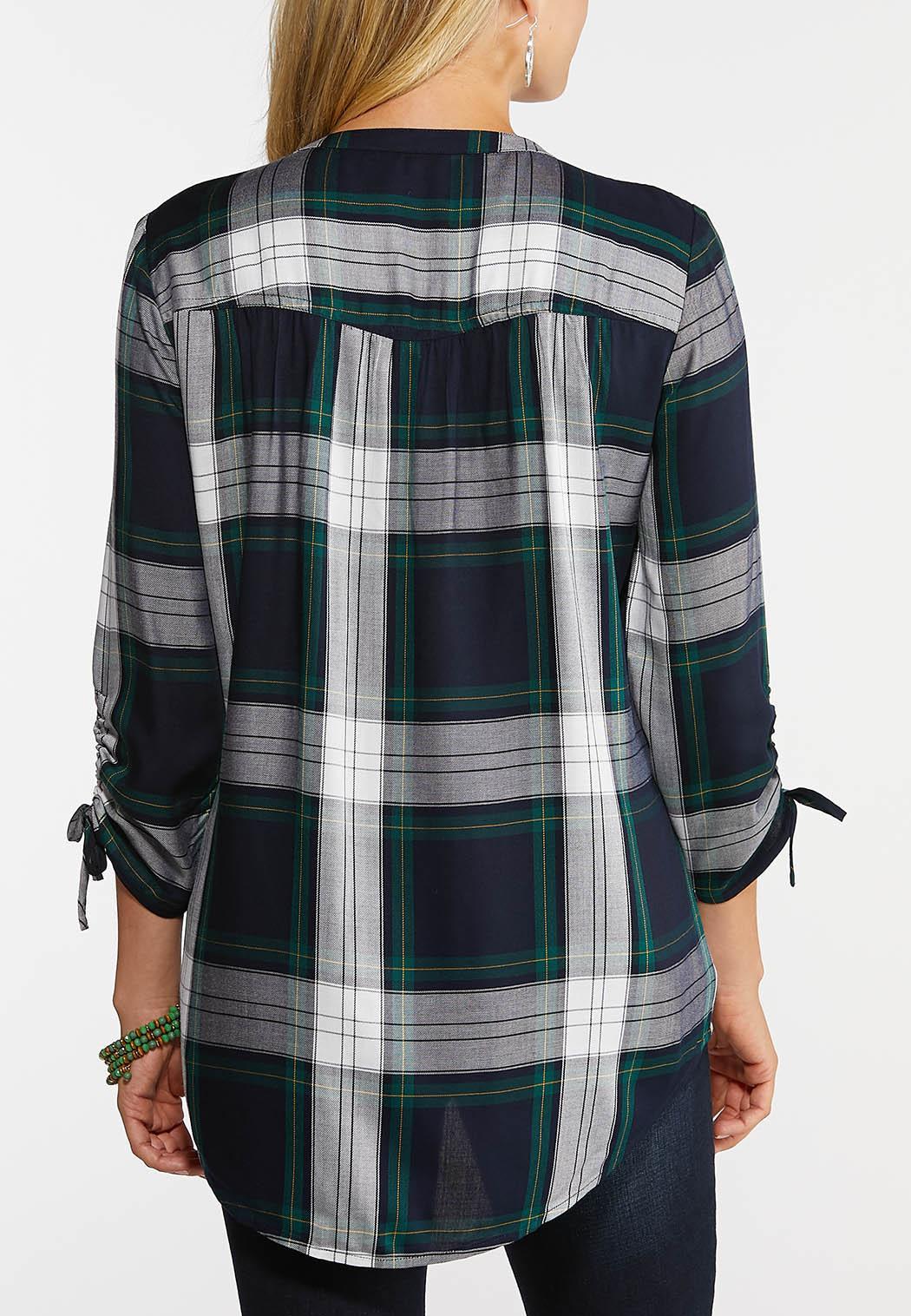 Plus Size Plaid Tie Sleeve Shirt (Item #44004034)