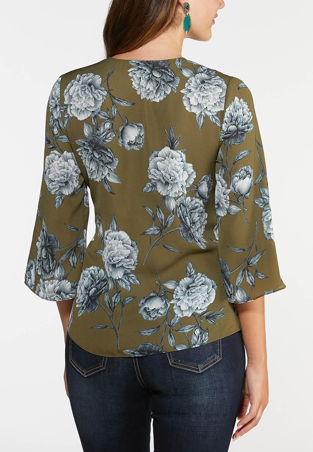 Floral Wood Ring Wrap Top (Item #44004059)