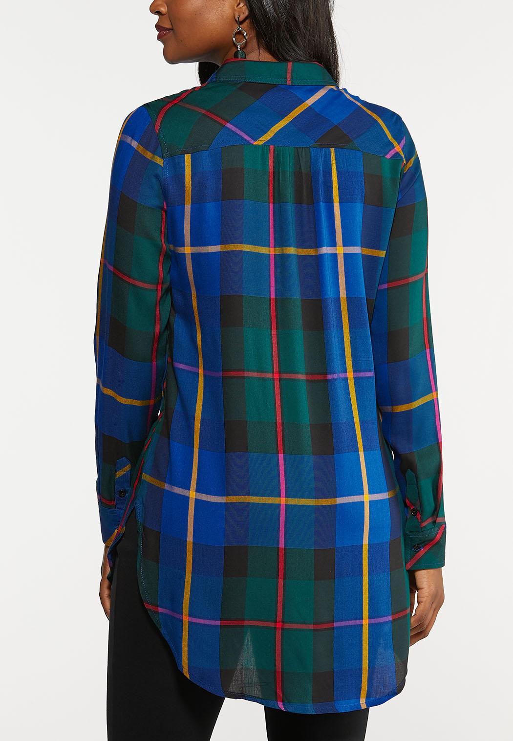 Plus Size Royal Blue Plaid Tunic (Item #44004582)