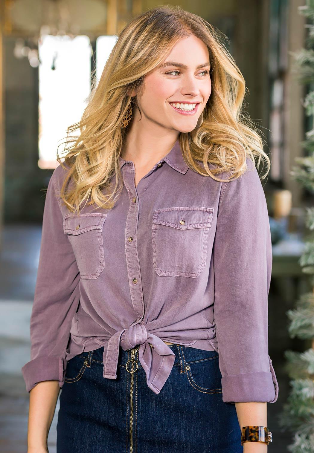 Plus Size Washed Button Down Shirt (Item #44004676)