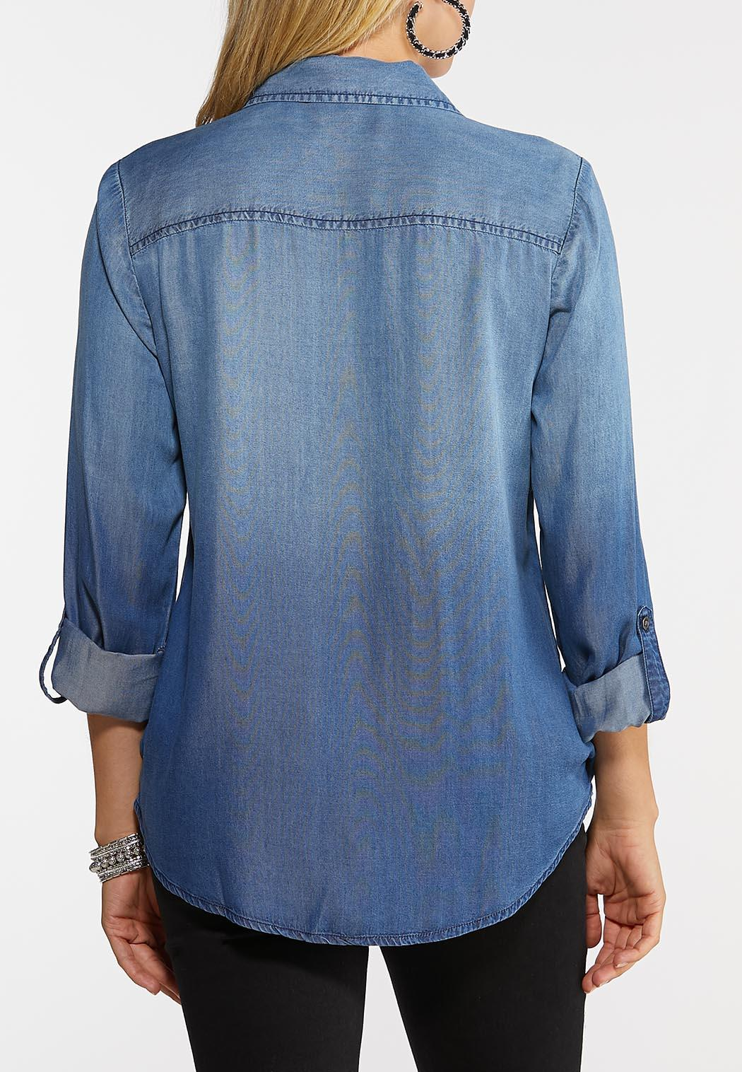 Plus Size Surplice Chambray Top (Item #44004745)
