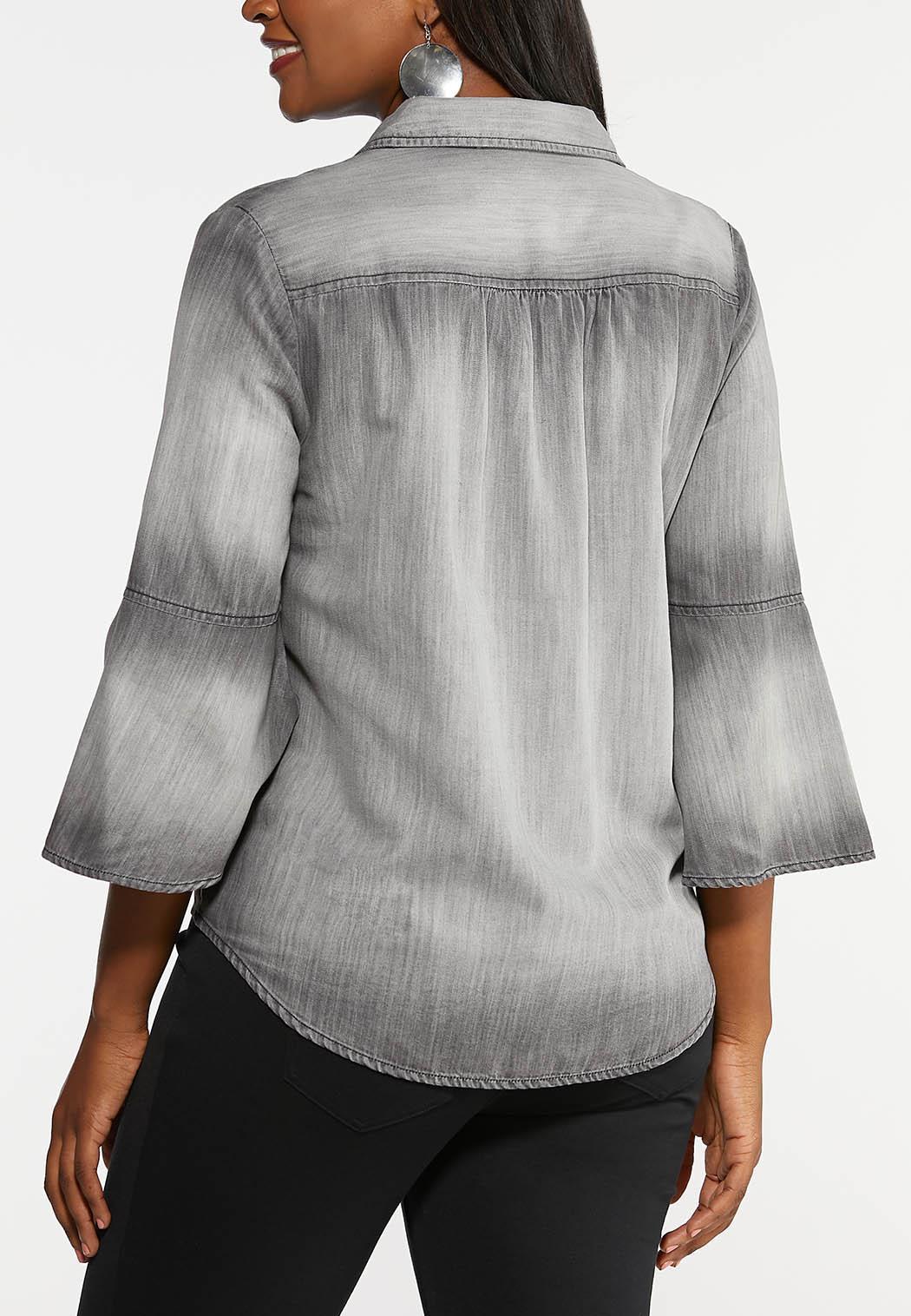 Gray Chambray Tie Top (Item #44005086)