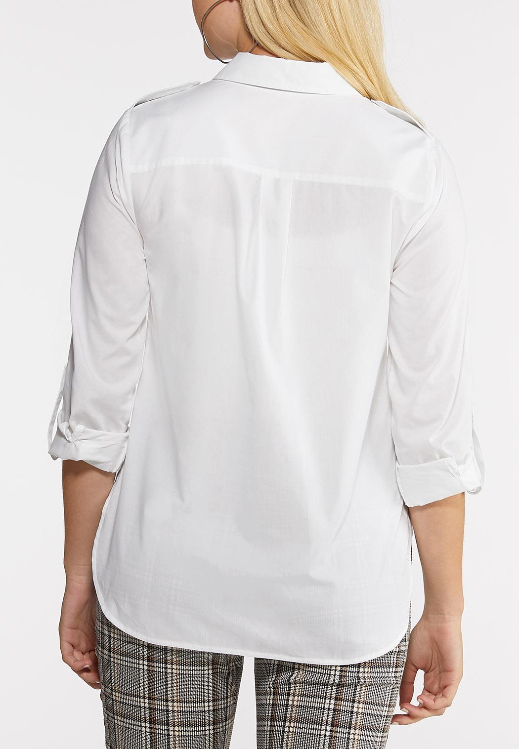 Plus Size White Button Down Shirt (Item #44005161)